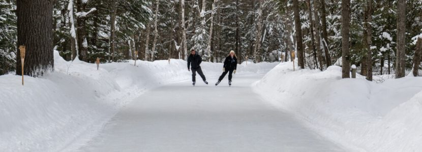 Picture of people on an Ontario ice skating trail.